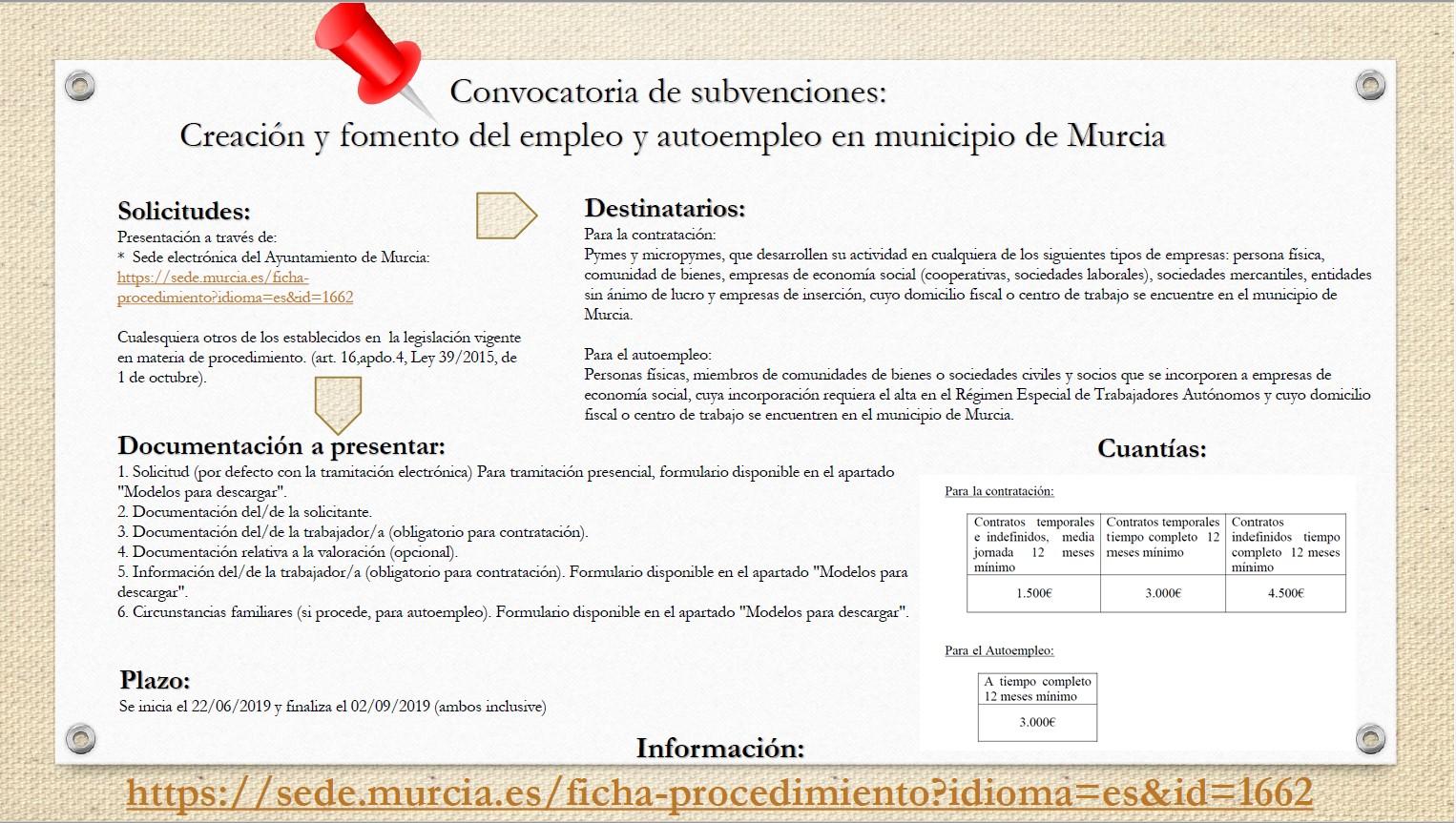 CONCESIÓN DE SUBVENCIONES PARA LA CREACIÓN Y FOMENTO DEL EMPLEO Y AUTOEMPLEO EN MUNICIPIO DE MURCIA....