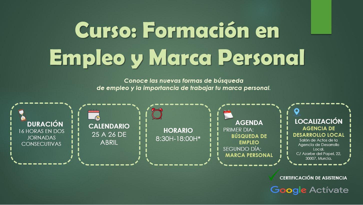 CONVOCATORIA DE CURSO GRATUÍTO GOOGLE ACTÍVATE EN LA AGENCIA DE DESARROLLO LOCAL DE FORMACIÓN EN EMPLEO Y MARCA PERSONAL