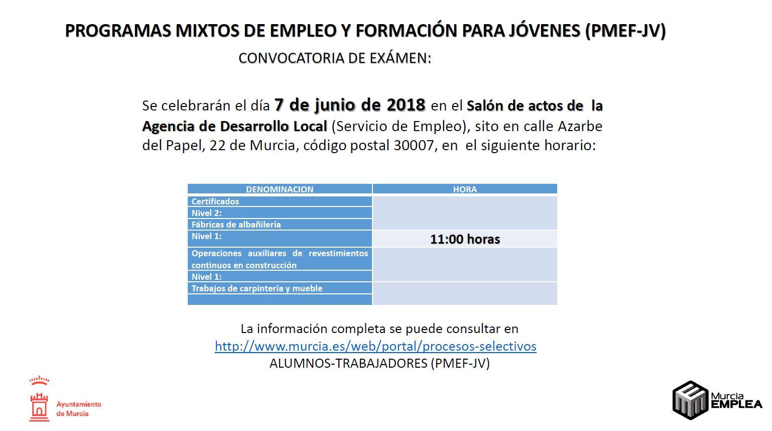 CONVOCATORIA EXAMEN PROGRAMA MIXTO DE EMPLEO Y FORMACIÓN