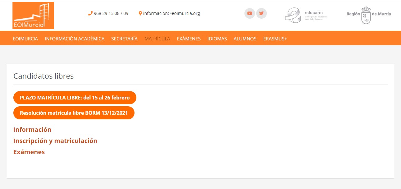 Pruebas libres Escuela Oficial de Idiomas