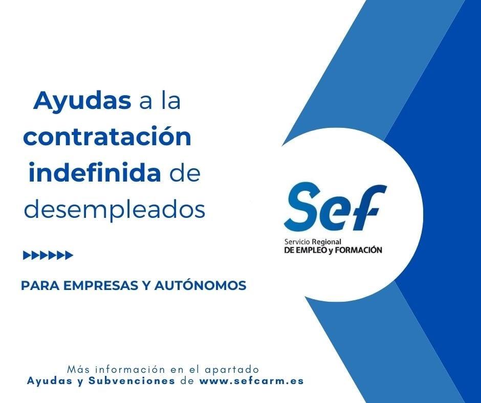 Continua abierto el plazo para solicitar las ayudas SEF para contratar a desempleados de forma indefinida.