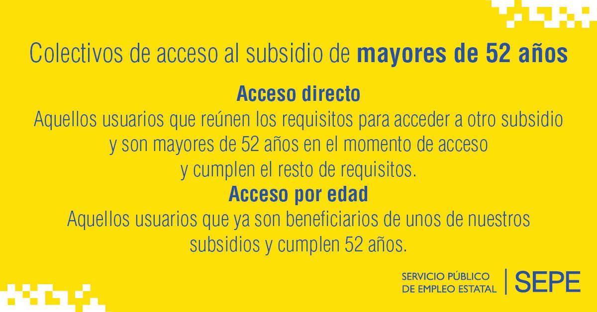 ¿Sabes si estás en algunos de los colectivos de acceso al subsidio de mayores de 52 años?