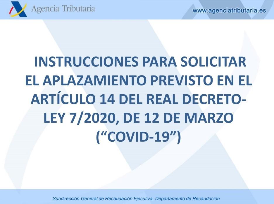 INSTRUCCIONES PARA SOLICITAR APLAZAMIENTOS DE IMPUESTOS DE PYMES Y AUTÓNOMOS.