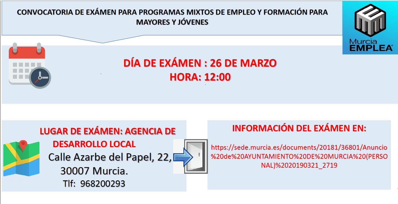 PRÓXIMA CONVOCATORIA DE EXÁMEN PARA PMEF-JV (PROGRAMA MIXTO DE EMPLEO Y FORMACIÓN)