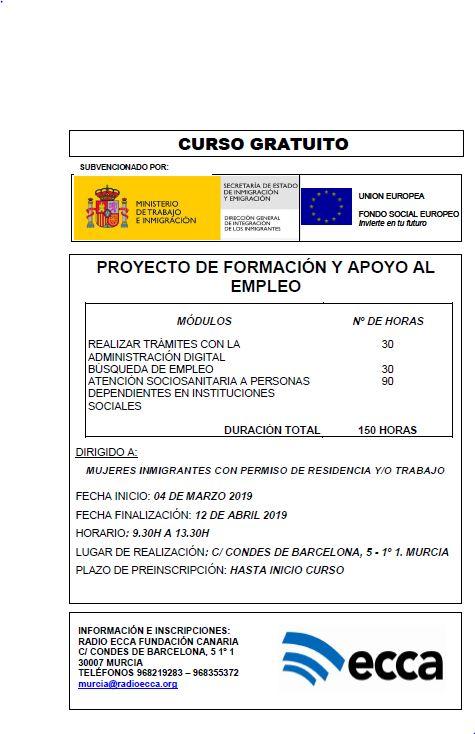PRÓXIMA CONVOCATORIA DEL PROYECTO DE FORMACIÓN Y APOYO AL EMPLEO