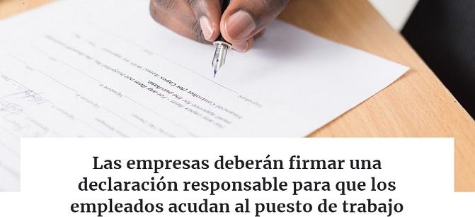 DECLARACIÓN RESPONSABLE PARA IR AL PUESTO DE TRABAJO