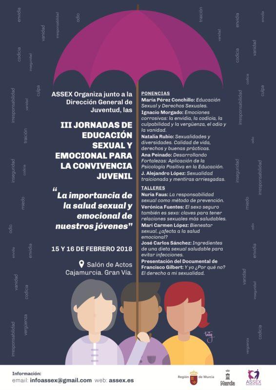 III JORNADAS DE EDUCACIÓN SEXUAL PARA LA CONVIVENCIA JUVENIL  SUBVENCIONADAS POR LA D.G. JUVENTUD Y AYUNTAMIENTO DE MURCIA
