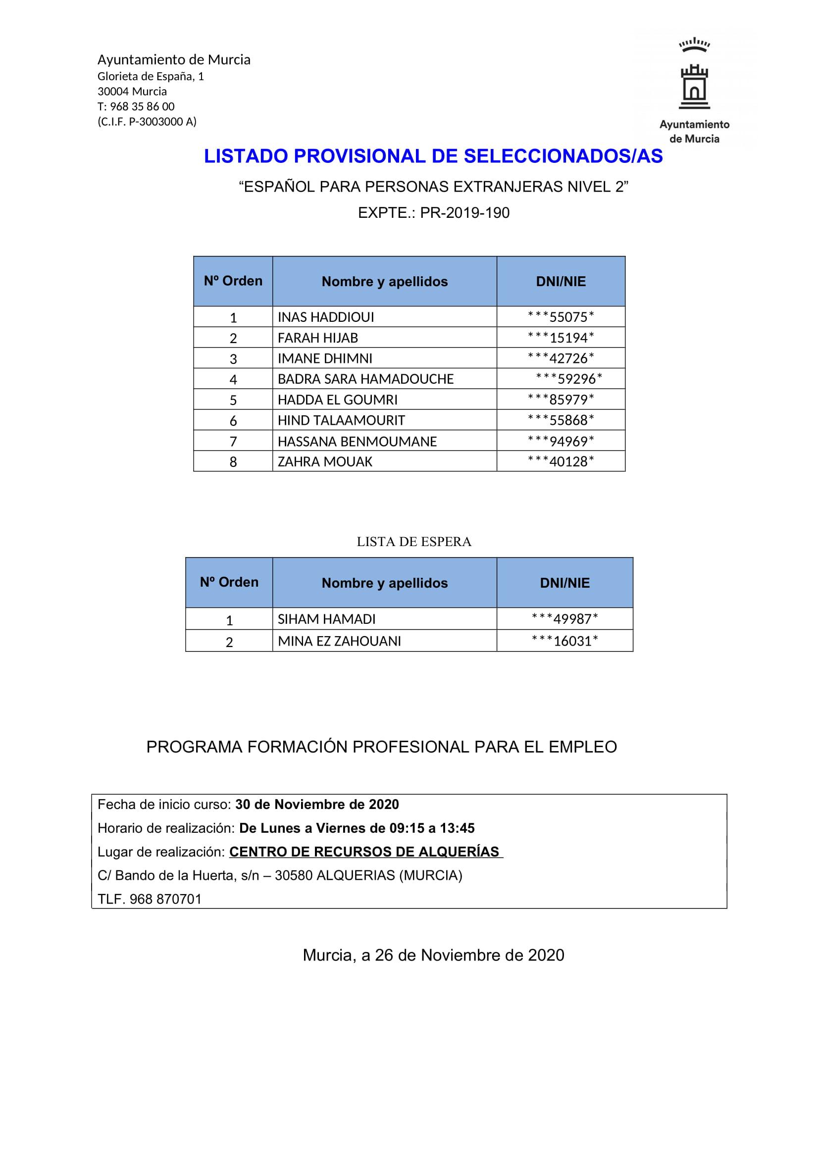PUBLICACIÓN LISTADO ALUMNADO SELECCIONA ACCIÓN FORMATIVA