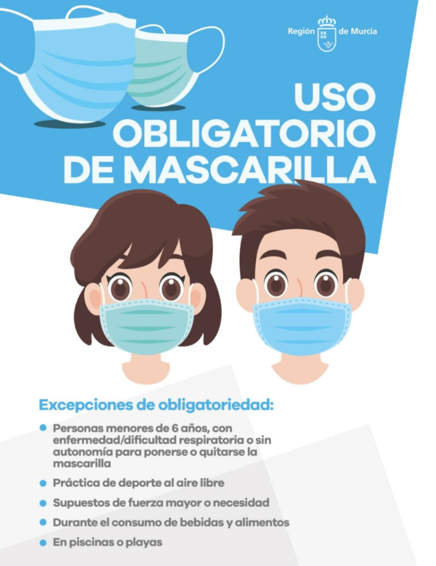 USO OBLIGATORIO DE MASCARILLAS EN LA REGIÓN DE MURCIA