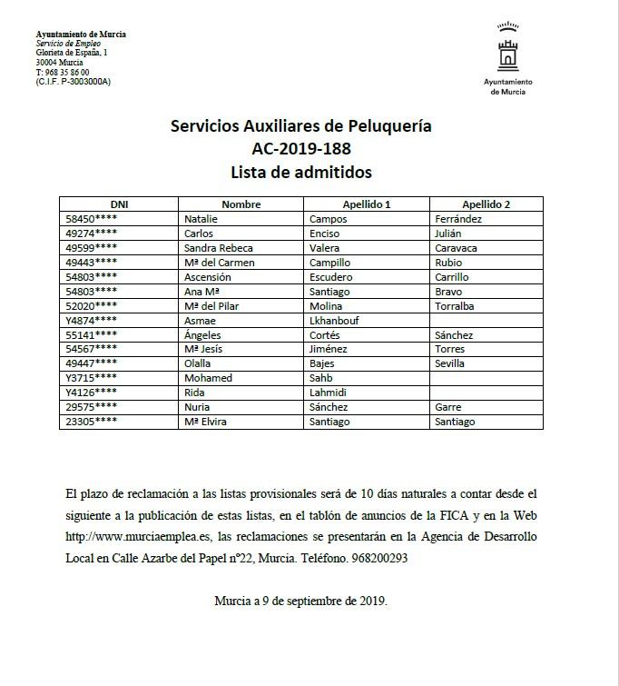 PUBLICACIÓN DE LISTAS PROVISIONALES DE PERSONAS ADMITIDAS EN CURSO DE SERVICIOS AUXILIARES DE PELUQUERÍA. CUALIFICACIÓN PROFESIONAL PARA JÓVENES. CURSO 2019-2020