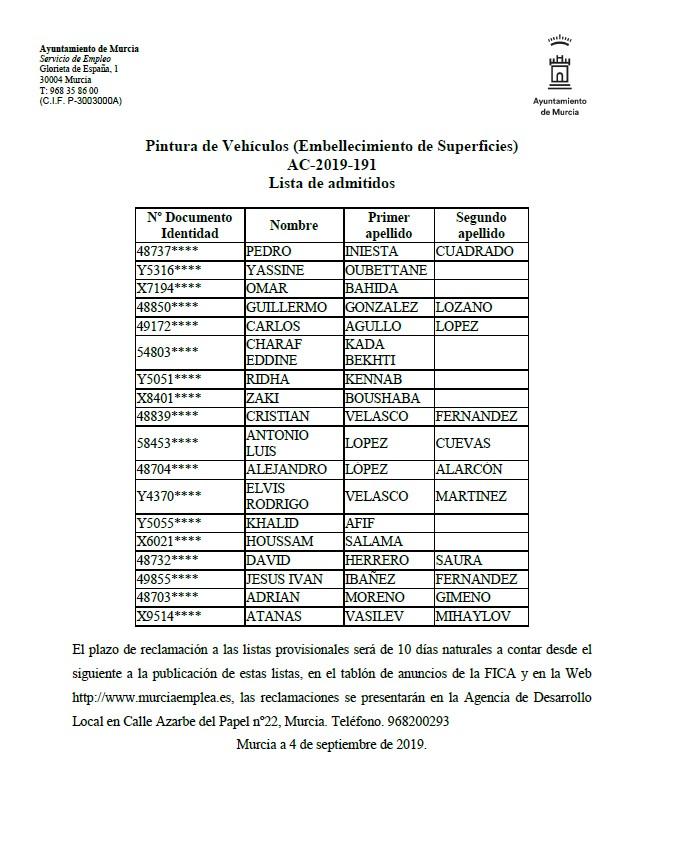 PUBLICACIÓN DE LISTAS PROVISIONALES DE PERSONAS ADMITIDAS EN CURSO DE PINTURA DE VEHÍCULOS. CUALIFICACIÓN PROFESIONAL PARA JÓVENES. CURSO 2019-2020