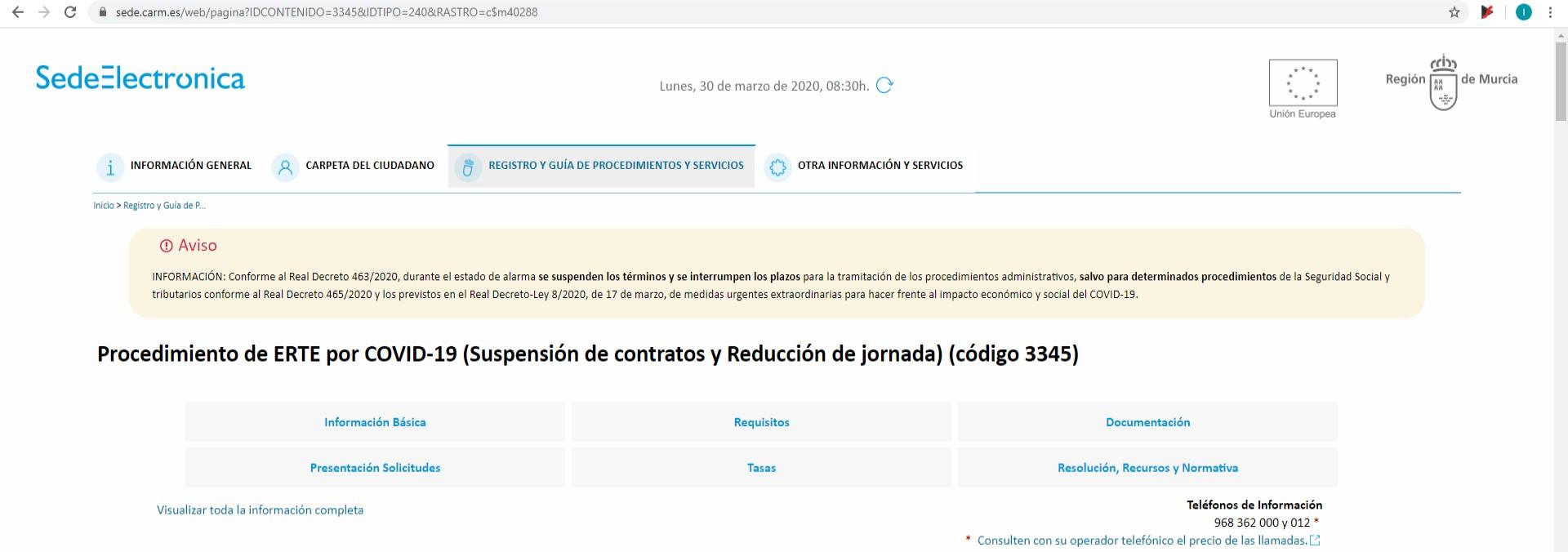 PROCEDIMIENTO DE ERTE POR COVID-19 (SUSPENSIÓN DE CONTRATOS Y REDUCCIÓN DE JORNADA) (CÓDIGO 3345)