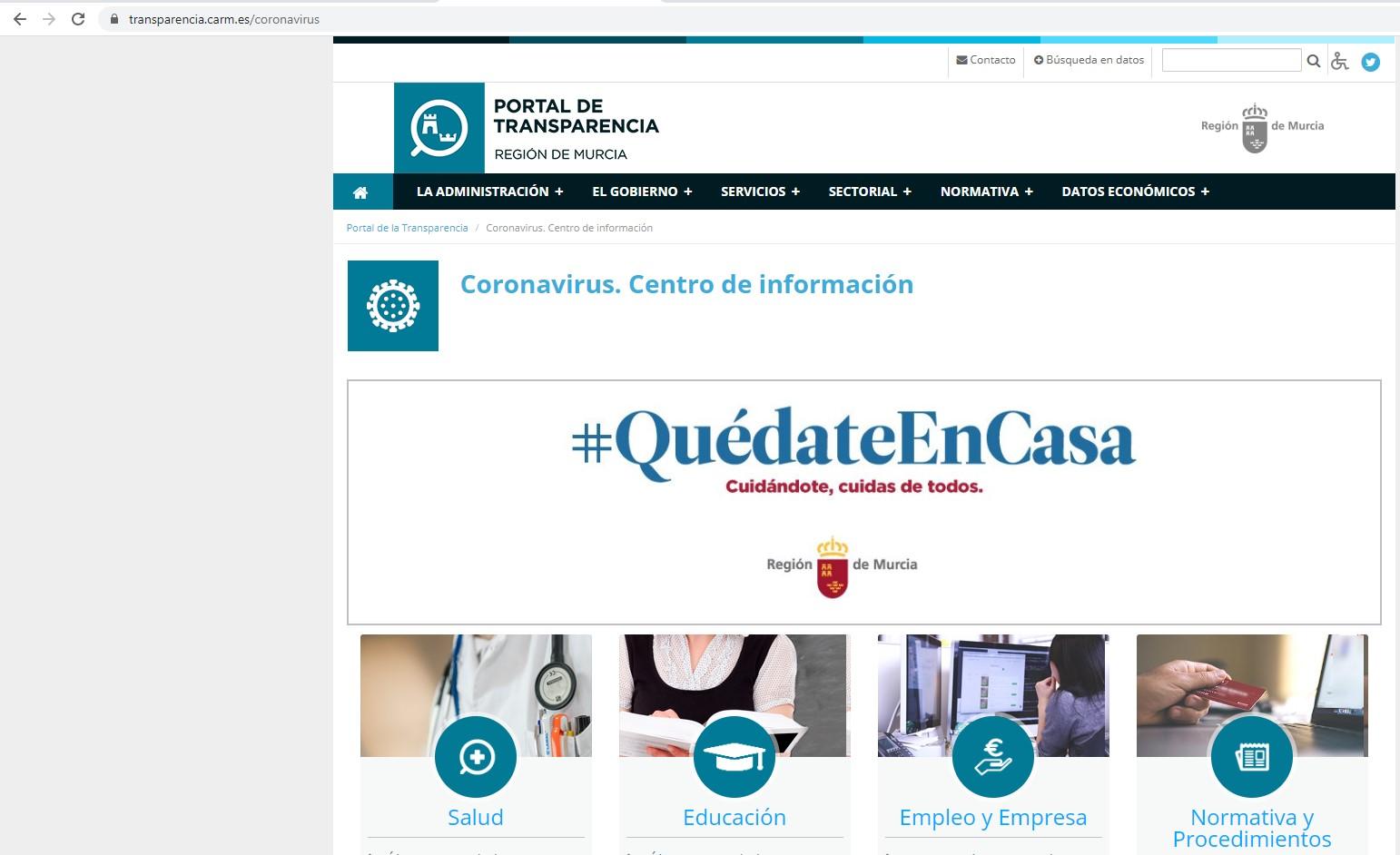 CENTRO DE INFORMACIÓN DEL CORONAVIRUS DE LA COMUNIDAD AUTÓNOMA